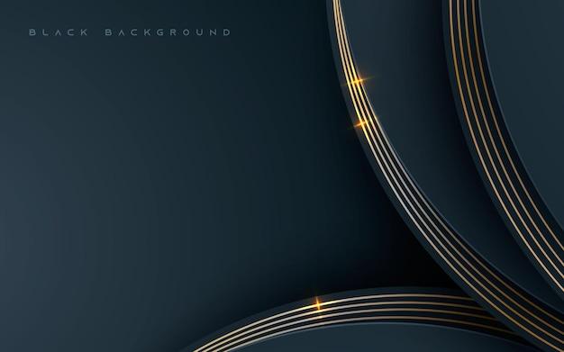Fundo de dimensão abstrato preto com decoração dourada