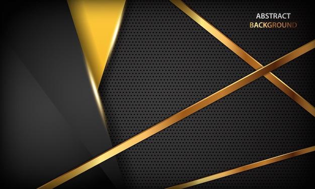 Fundo de dimensão de luxo abstrato preto e amarelo com linhas douradas