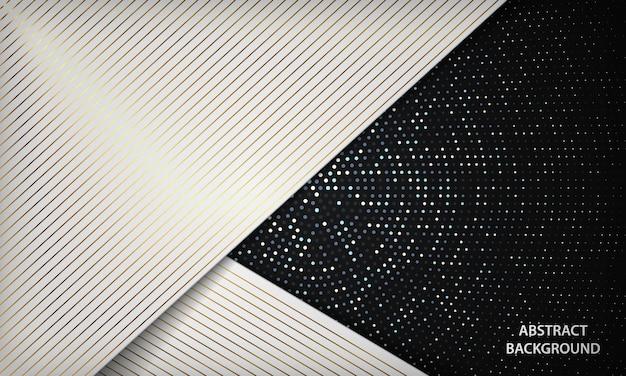Fundo de dimensão de luxo branco elegante com decoração de linhas douradas e elemento de pontos de círculo prateado