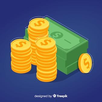 Fundo de dinheiro isométrica