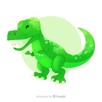 Fundo de dinossauro aquarela t-rex