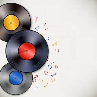 Fundo de discos de vinil com copyspace