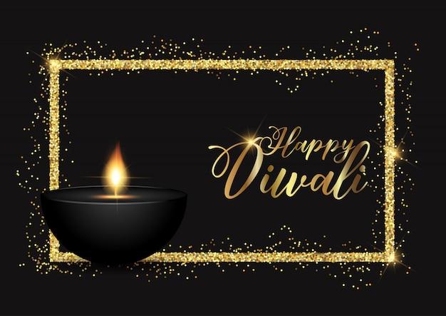 Fundo de diwali com borda dourada brilhante