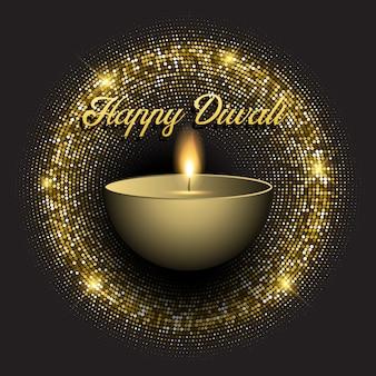 Fundo de diwali com luzes brilhantes de ouro