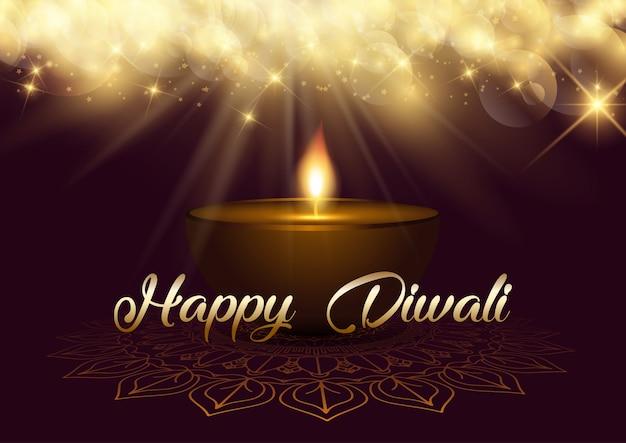 Fundo de diwali com luzes de bokeh e lâmpada de óleo