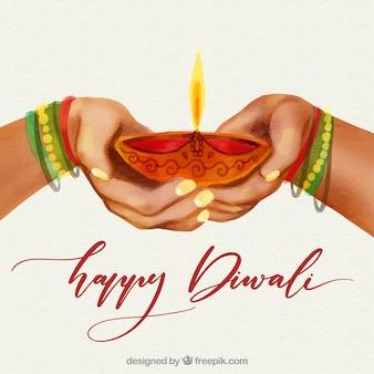 Fundo de diwali de aquarela com design de mãos