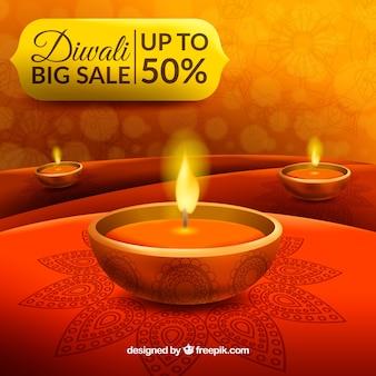 Fundo de diwali em tons avermelhados