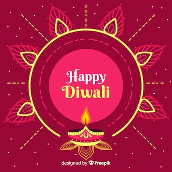 Fundo de diwali plana com sol ornamental e velas