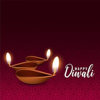 Fundo de diya festival de diwali brilhante