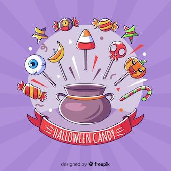 Fundo de doces de halloween de mão desenhada