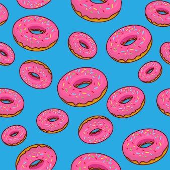 Fundo de donuts, desenho de donut, padrão sem emenda de donut