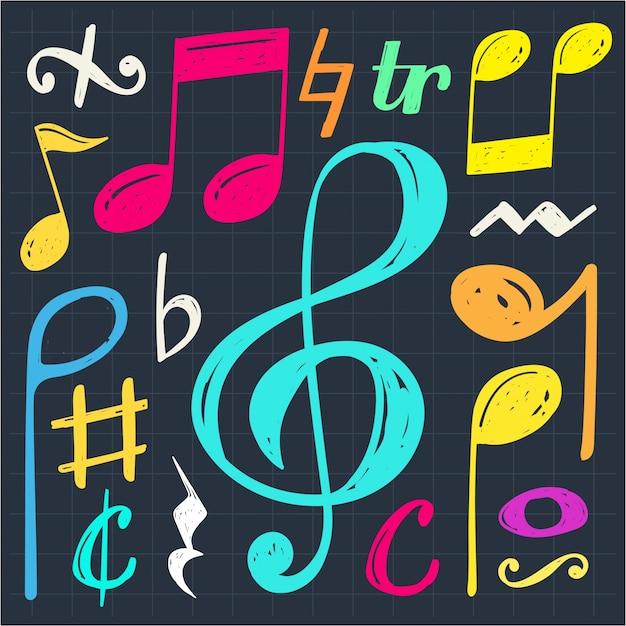 Fundo de doodle da nota de música