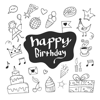 Fundo de doodle de aniversário