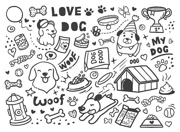 Fundo de doodle de cachorro fofo de estimação