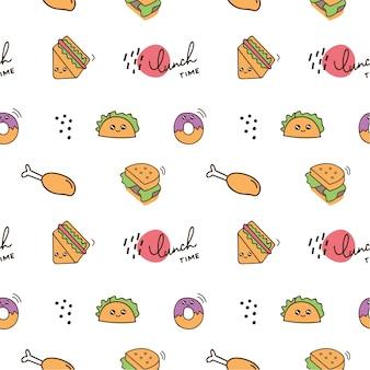Fundo de doodle de comida bonito ícone