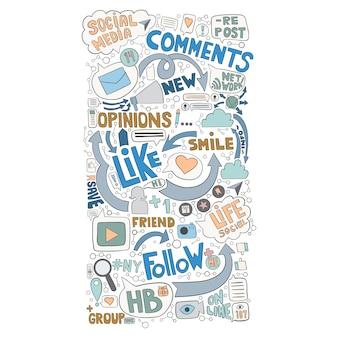 Fundo de doodle desenhado mão para tópico de mídia social