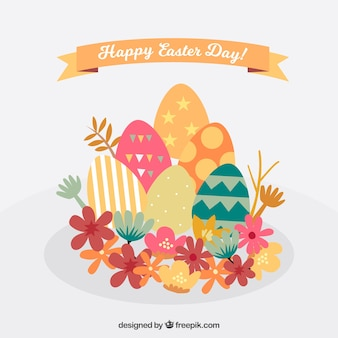Fundo de easter com ovos e flores