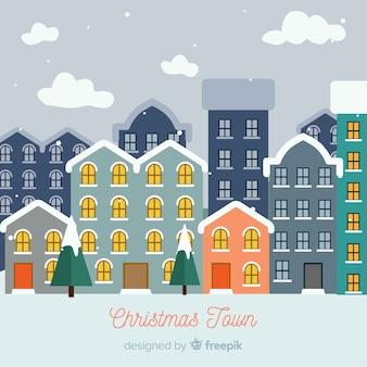 Fundo de edifícios de neve de natal