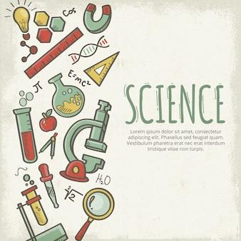 Fundo de educação científica de estilo vintage