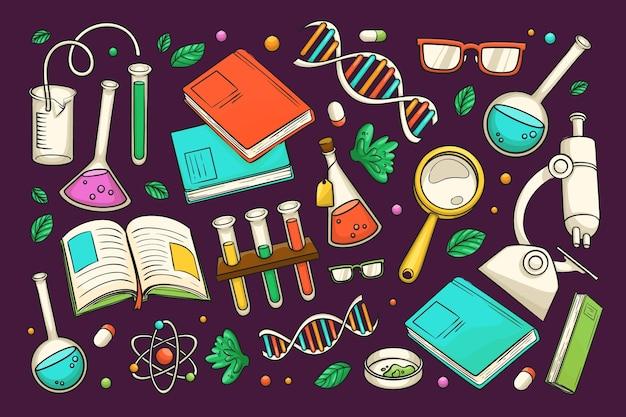 Fundo de educação científica de mão desenhada