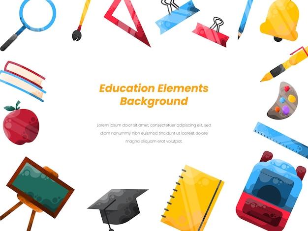 Fundo de educação com elemento de ícone de educação colorido
