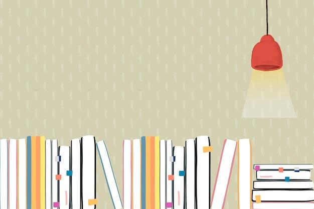 Fundo de educação com livros e lâmpada de teto