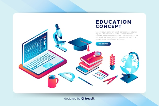Fundo de educação isométrica