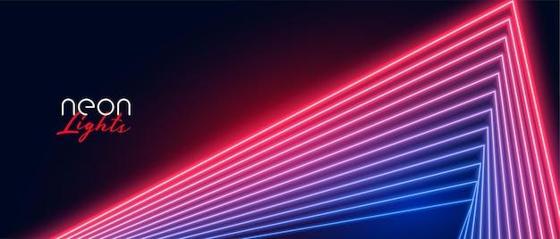 Fundo de efeito de linhas de néon azul vermelho