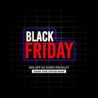 Fundo de efeito de néon de venda de sexta-feira negra