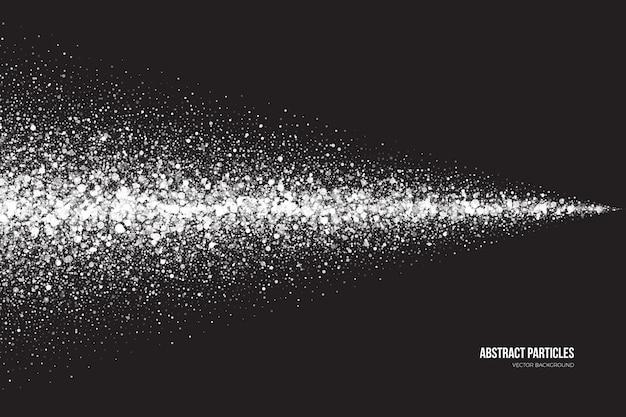Fundo de efeito de spray de partículas redondas brilhantes cintilantes de branco brilhante abstrato Vetor Premium