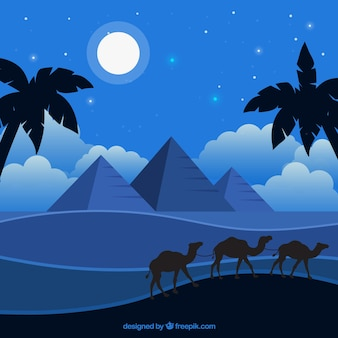 Fundo, de, egito, pirâmides, noturna, paisagem, com, caravana, de, camelos