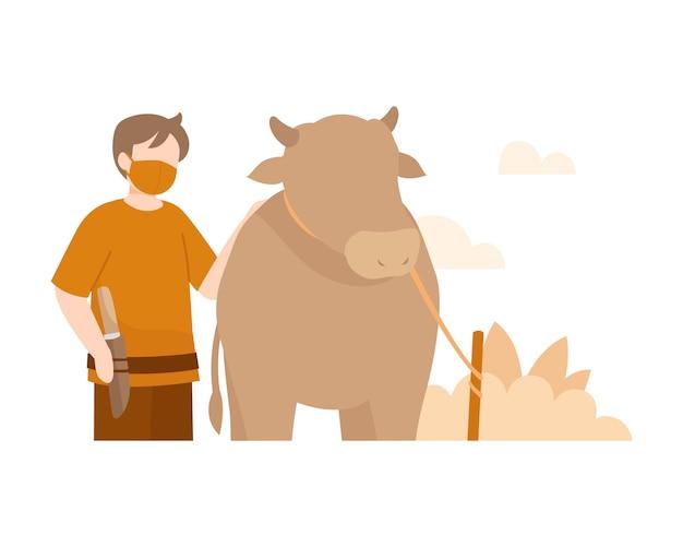 Fundo de eid al-adha com ilustração de homem e vaca
