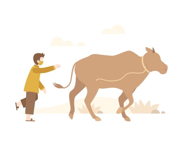 Fundo de eid al-adha com um homem corre atrás de uma ilustração de vaca solta