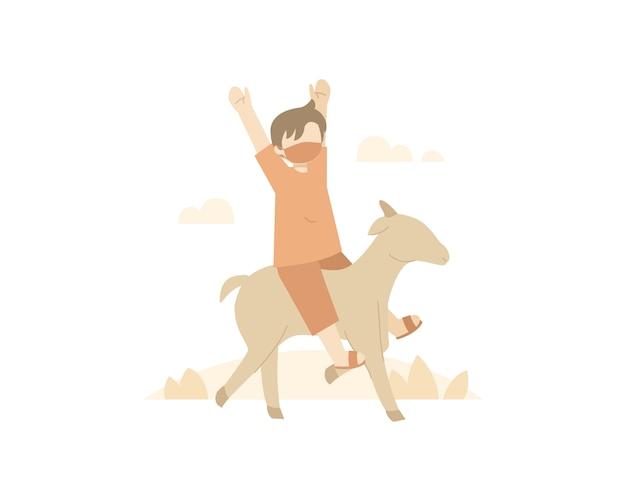 Fundo de eid al-adha com um menino montando uma ilustração de cabra