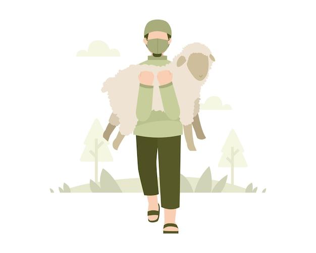 Fundo de eid al-adha com uma máscara de desgaste de homem e carregando uma ilustração de ovelhas