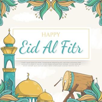 Fundo de eid al fitr desenhado à mão com ornamento islâmico