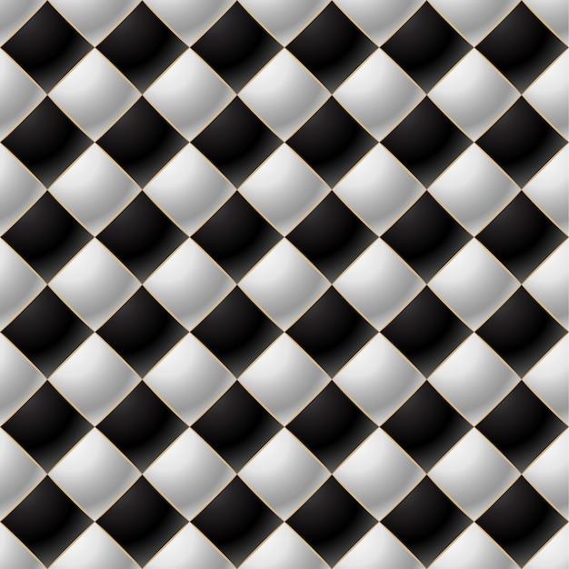 Fundo de elegante padrão acolchoado vip preto e branco