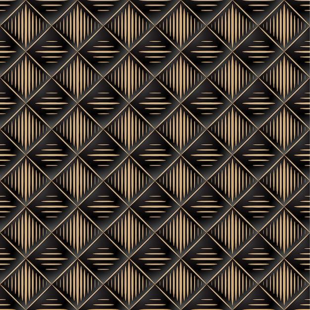 Fundo de elegante padrão acolchoado vip preto e dourado