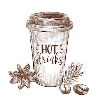 Fundo de elemento de esboço de café