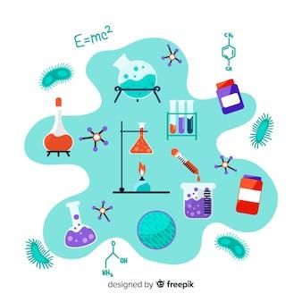 Fundo de elemento de química mão desenhada
