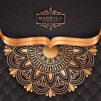 Fundo de elemento étnico decorativo de mandala de luxo