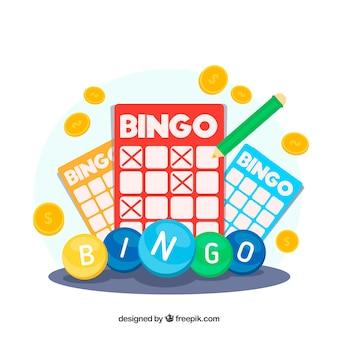 Fundo de elementos de bingo coloridos em design plano
