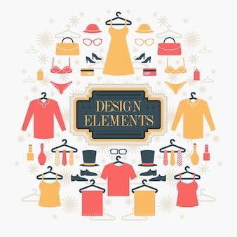 Fundo de elementos de compras e moda.