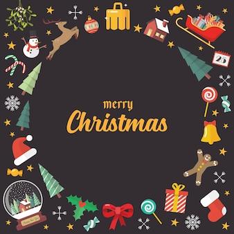 Fundo de elementos de decoração de feliz natal. cartão de felicitações.