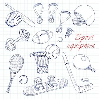 Fundo de elementos de doodles esportivos