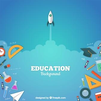 Fundo de elementos de educação em estilo plano