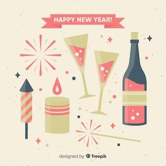 Fundo de elementos de festa plana de ano novo