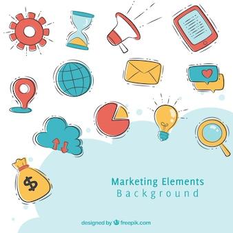 Fundo de elementos de marketing em estilo desenhado a mão