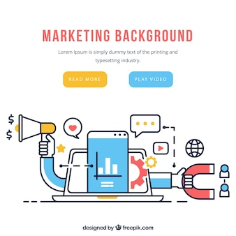 Fundo de elementos de marketing em estilo plano