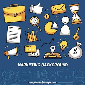 Fundo de elementos de marketing